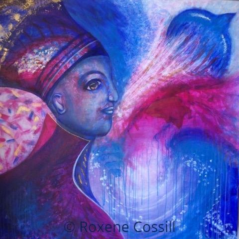 """Roxene Cossill Art; 'Soul Vibrance'; 2018 Original Canvas; 36"""" x 36"""""""