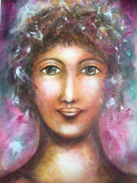 "Roxene Cossill Art; 'Divine Feminine Lady'; 2018 Original Canvas; 24"" x 36"""