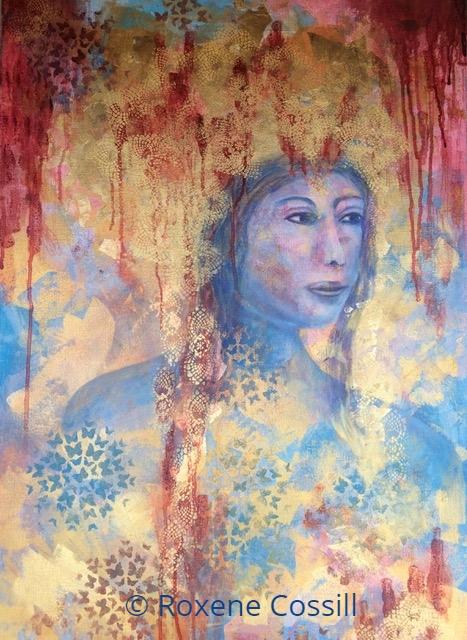 """Roxene Cossill Art; 'Sacred Ceremony'; 2019 Original Canvas; 24"""" x 36"""""""