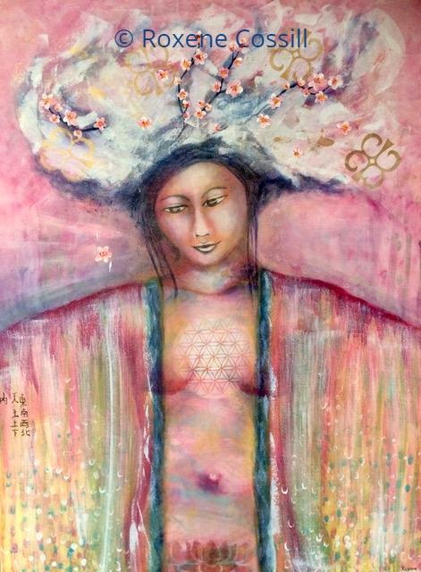 """Roxene Cossill Art; 'Respectful Wisdom'; 2019 Original Canvas; 36"""" x 48"""""""