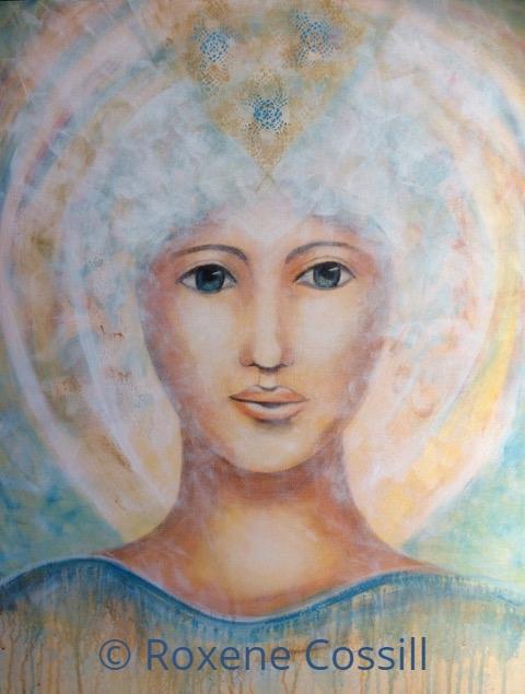 "Roxene Cossill Art; 'Blue Angel'; 2019 Original Canvas; 24"" x 36"""