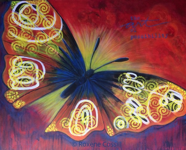 Roxene Cossill; Butterfly Dreams; 2018 24 x 36 Original Acrylic Canvas
