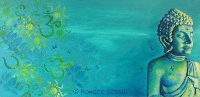 "Roxene Cossill Art; 'Buddha Dreaming'; 2017 Original Canvas; 18"" x 36"""