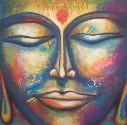 "Roxene Cossill Art; 'Buddha Focus'; 2018 Original Canvas; 20"" x 20"""